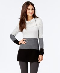 Inc International Concepts Side Zip Colorblocked Cowl Neck Tunic Only At Macy's Tonal Greys