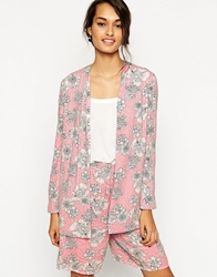 Asos Relaxed Blazer With Embellished Floral Print Co Ord Floralpinkprint