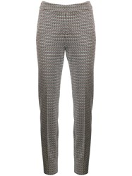 Luisa Cerano Houndstooth Tailored Trousers Neutrals
