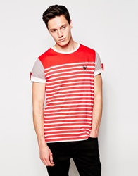 Ringspun Contrast Panel Stripe T Shirt Red