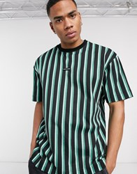 Good For Nothing Oversized Striped T Shirt In Green