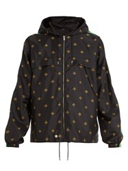 Gucci Bee And Star Jacquard Shell Hooded Jacket Black Multi