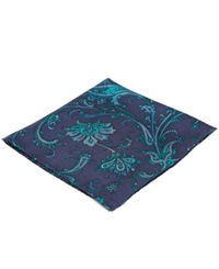 Ryan Seacrest Distinction Palm Paisley Pocket Square Aqua