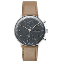 Junghans 027 4501.01 Men's Max Bill Automatic Chronoscope Day Date Leather Strap Watch Camel Grey