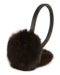 Surell Leather And Mink Fur Earmuffs Gray Black Brown Black
