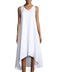 Neiman Marcus A Line High Low Midi Dress White