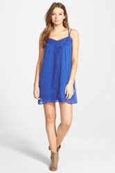 Fire Lace Inset Strappy Shift Dress Juniors Blue
