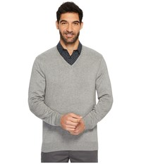 Perry Ellis Classic Solid V Neck Sweater Smoke Heather Gray