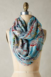 Anthropologie Embroidered Arabesque Infinity Scarf Blue Green