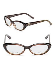 Gucci Patterned Cat Eye Optical Glasses Brown