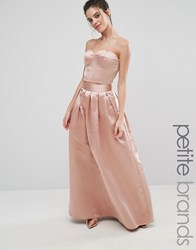 Chi Chi Petite London Satin Maxi Skirt Blush Pink