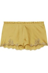 Carine Gilson Flottant Chantilly Lace Trimmed Silk Satin Shorts Mustard