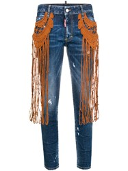 Dsquared2 Tassel Embroidered Jeans Blue