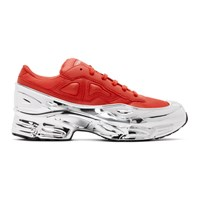 Raf Simons Red And Silver Adidas Originals Edition Ozweego Sneakers