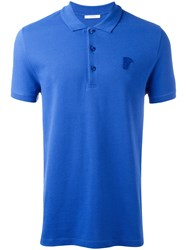 Versace Collection Logo Embroidered Polo Shirt Blue