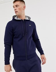 Lacoste Sport Logo Hooded Sweat In Navy