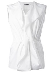 Jil Sander Sleeveless Ruffle Blouse White