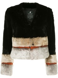 Loveless Panelled Faux Fur Jacket Black