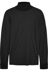 Tamara Mellon Sheer Stretch Crepe And Cashmere Turtleneck Sweater Black