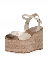 Etienne Aigner Sally Patent Platform Wedge Sandal Nude