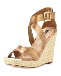Charles David Olympia Patent Wedge Sandal Gold
