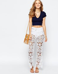 Gypsy 05 Crochet Bell Trousers Mantar Ivory White