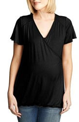 Women's Maternal America Flutter Sleeve Nursing Top Black