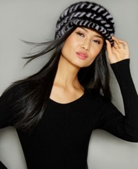 The Fur Vault Knitted Mink Hat Black Sapphire