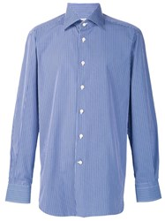 Kiton Plaid Button Down Shirt Blue