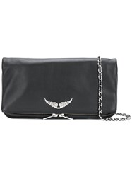 Zadig And Voltaire Foldover Zipped Clutch Black