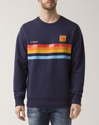 Diesel Navy Blue And Orange Striped Joe Crew Neck Sweatshirt