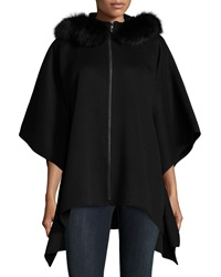 Neiman Marcus Cashmere Collection Fur Trim Hooded Cashmere Zip Poncho