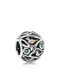 Pandora Design Pandora Charm Sterling Silver 14K Gold And Cubic Zirconia Birds Of A Feather Moments Collection Silver Green Gold