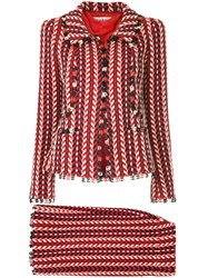 Chanel Vintage Mademoiselle Skirt Suit Red