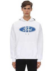 Versace Ford And Logo Cotton Hoodie White