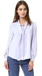 English Factory Tie Front Blouse White Blue