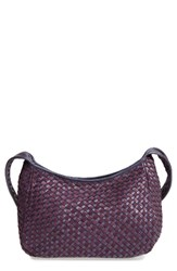 Robert Zur Small Delia Woven Leather Hobo Purple Violet Deep Purple