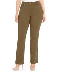 Charter Club Plus Size Lexington Colored Tummy Control Straight Leg Jeans Only At Macy's Salty Nut