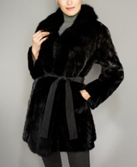 The Fur Vault Fox Trim Mink Reversible Coat Black