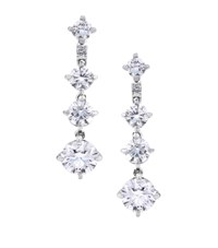 De Beers White Gold Arpeggia One Line Drop Earrings Silver