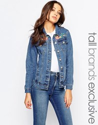 Glamorous Tall Denim Jacket With Bird And Floral Embroidery Mid Blue