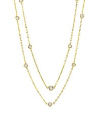 Crislu Hearts Sterling Silver And Cubic Zirconia Station Necklace Gold