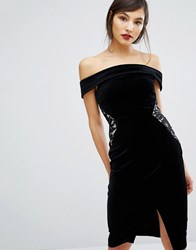 Oasis Velvet And Lace Bardot Dress Black