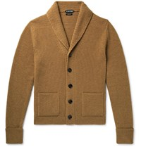 Tom Ford Shawl Collar Ribbed Cashmere Cardigan Brown