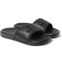 Nike Benassi Jdi Faux Leather And Rubber Slides