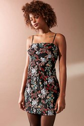 Urban Outfitters Uo Embroidered Ponte Straight Neck Dress Black Multi