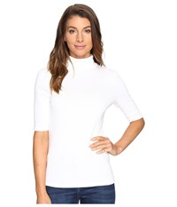 Lilla P Elbow Sleeve Turtleneck White Women's Clothing