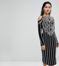 A Star Is Born Midi Dress In Jersey With Embellishment And Cold Shoulder Detail Black