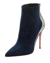 Christian Louboutin Delicotte Suede Red Sole Booties Blue Silver