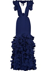 Johanna Ortiz El Encanto Cutout Ruffled Silk Chiffon Gown Royal Blue